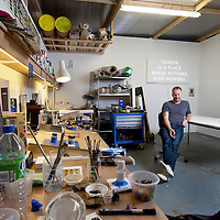Artist Nathan Coley pictured in his Glasgow Studio. He works across a variety of media, including sculpture, photography, drawing, video and installations.  He was shortlisted for a Turner Prize in 2007.<br /> Picture Drew Farrell.<br /> Tel : 07721-735041