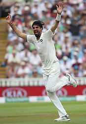 India bowler Mohammed Shami celebrates taking the wicket of England batsman Ben Stokes out for 6 during day three of the Specsavers First Test match at Edgbaston, Birmingham.