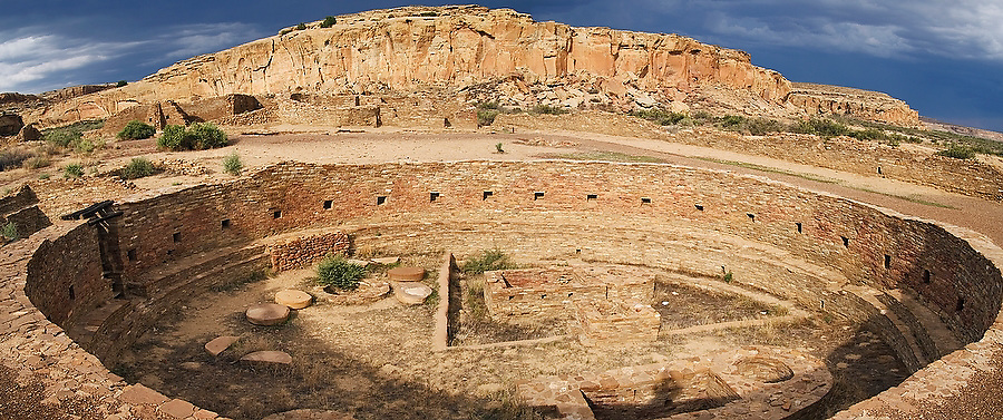 Giant ceremonial kiva at Chaco Culture National HIstoric Park, New Mexico on July 22, 2006.