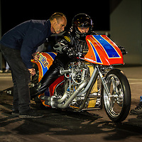 Les Holden (767) - HRP Nitro Bike - Harley-Davidson Nitro Bike (Twin), with Top Fuel driver Alan Dobson (531) looking on.