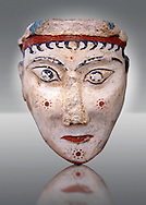 A unique plaster head of a women, possibly a goddess of sphinx, one of the few examples of Mycenaean plater art. The severe expression is excentualted by red and black paint and the small hair curls fall from below a polos 9 a cylindrical cap). From one of the cult areas of the acropolis of  Mycenae, Greece. 13th century BC, cat no: 4575,  National Archaeological Museum, Athens. .<br /> <br /> If you prefer to buy from our ALAMY PHOTO LIBRARY  Collection visit : https://www.alamy.com/portfolio/paul-williams-funkystock/mycenaean-art-artefacts.html . Type -   Athens    - into the LOWER SEARCH WITHIN GALLERY box. Refine search by adding background colour, place, museum etc<br /> <br /> Visit our MYCENAEN ART PHOTO COLLECTIONS for more photos to download  as wall art prints https://funkystock.photoshelter.com/gallery-collection/Pictures-Images-of-Ancient-Mycenaean-Art-Artefacts-Archaeology-Sites/C0000xRC5WLQcbhQ