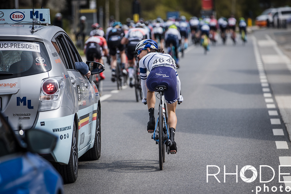 Omer Shapira (ISR/Canyon SRAM) in conversation with the UCI official after being disqualified for disposing her bidon outside the designated area.<br /> <br /> <br /> Women's Elite Brabantse Pijl 2021 <br /> 1 Day Race: Lennik - Overijse 127km<br /> <br /> ©Rhode.Photo