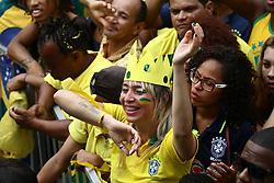 June 17, 2018 - Salvador, Brazil - SALVADOR, BA - 17.06.2018: TORCIDA BRASIL EM SALVADOR - Twisted in Pelourinho, in Salvador, for the Brazilian National Team in the Russian Cup, went to the sound of Olodum in Salvador. (Credit Image: © Mauro Akin Nassor/Fotoarena via ZUMA Press)
