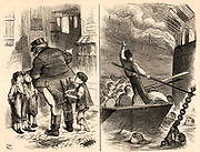 A Useful Manufacture: The 'Raw Material' 'Worked Up'.   The Burning of the Royal Navy training ship 'Goliath', 1876.  Destitute boys from the London streets and workhouses were given places on board naval training ships such as 'Chichester', 'Arethusa', 'Shaftesbury' and 'Goliath' and trained to become sailors.  When fire broke out on the 'Goliath', because of their training, the boys knew their stations and responded to command and were saved.  Cartoon by John Tenniel (1820-1914) from 'Punch' (London, 8 January 1876) showing John Bull rescuing the boys from poverty, left, and the boys being resuced from the fire, right.