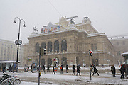 Vienna, Austria. Staatsoper (State Opera.) .On 1/17/2013, 30+ centimeters of snow fell in Vienna, slowing down many aspects of public life.