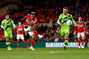 Middlesbrough forward Britt Assombalonga (9) with a shot  during the EFL Sky Bet Championship match between Middlesbrough and Norwich City at the Riverside Stadium, Middlesbrough, England on 30 March 2019.