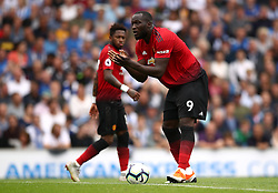 Manchester United's Romelu Lukaku urges his team-mates on after scoring his side's first goal of the game