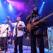 """WASHINGTON, DC - May 5th, 2014 - Trouble Funk featuring Big Tony (right) performs at the 9:30 Club in Washington D.C. as part of Big Tony's birthday celebration. The night featured a set from """"surprise guests"""" Dave Grohl and Foo Fighters. (Photo by Kyle Gustafson / For The Washington Post)"""