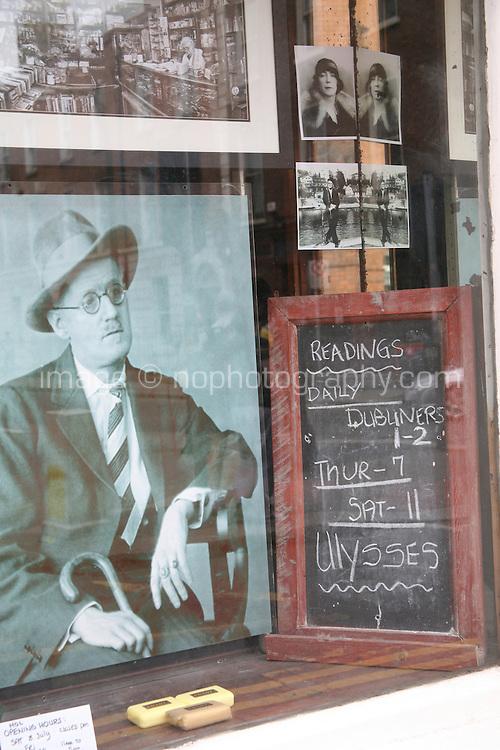 James Joyce themed shop window in Dublin Ireland