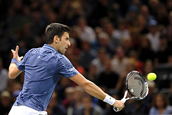November 1, 2018 - Paris, France - Serbian player NOVAK DJOKOVIC returns the ball to Bosnian player D. DZUMHUR during the tournament Rolex Paris Master at Paris AccorHotel Arena Stadium in Paris France..Withdrawal of Damir Dzumhur on injury.Novak Djokovic won 6-1 2-1 (Credit Image: © Pierre Stevenin/ZUMA Wire)