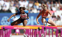 Great Britain's Tiffany Porter (left) and The Netherland's Eefje Boons compete in the women's 100m hurdles during day eight of the 2017 IAAF World Championships at the London Stadium.