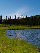 View of Denali, the Great One from the edge of Wonder Lake, Denali National Park, Alaska.