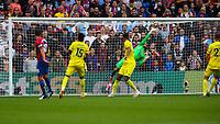 Football - 2021/2022  Premier League - Crystal Palace vs Brentford - Selhurst Park  - Saturday 21st August 2021.<br /> <br /> David Raya (Brentford FC) tips away the goalbound effort from James McArthur (Crystal Palace) at Selhurst Park.<br /> <br /> COLORSPORT/DANIEL BEARHAM