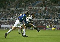 Photo: Andrew Unwin.<br />Newcastle United v Everton. The Barclays Premiership. 25/02/2006.<br />Newcastle's Nolberto Solano (R) scores his second goal.