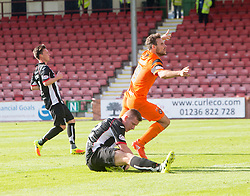Dundee United's Tony Andrue cele scoring their third goal. Dunfermline 1 v 3 Dundee United, Scottish Championship game played 10/9/2016 at East End Park.