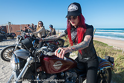 Sarah Furey and the Iron Lillies at the High Tides restaurant in Flagler Beach while on the Hot Leathers ride during the Daytona Bike Week 75th Anniversary event. FL, USA. Tuesday March 8, 2016.  Photography ©2016 Michael Lichter.