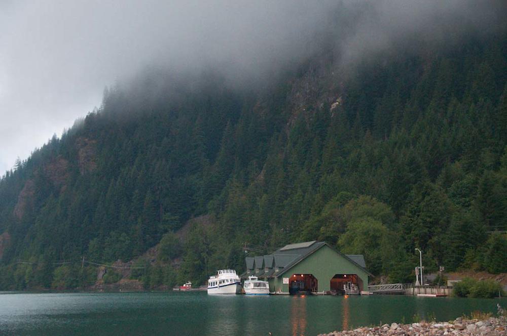 Seattle City Light Boat House on Diablo Lake, North Cascades National Park, Washington, US