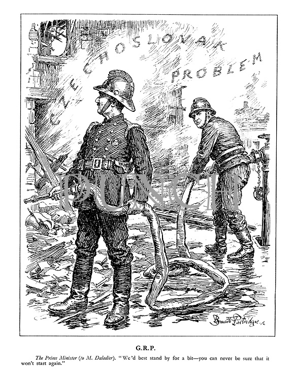 """G.R.P. The Prime Minister (to M. Daladier). """"We'd best stand by for a bit - you can never be sure that it won't start again."""" (Chamberlain as firefighter stands by with Edouard Daladier at the rubble of the Czechoslovak Problem)"""