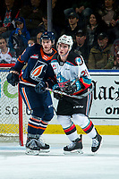 KELOWNA, BC - DECEMBER 27:  Sean Strange #6 of the Kamloops Blazers stick checks Liam Kindree #26 of the Kelowna Rockets at Prospera Place on December 27, 2019 in Kelowna, Canada. (Photo by Marissa Baecker/Shoot the Breeze)