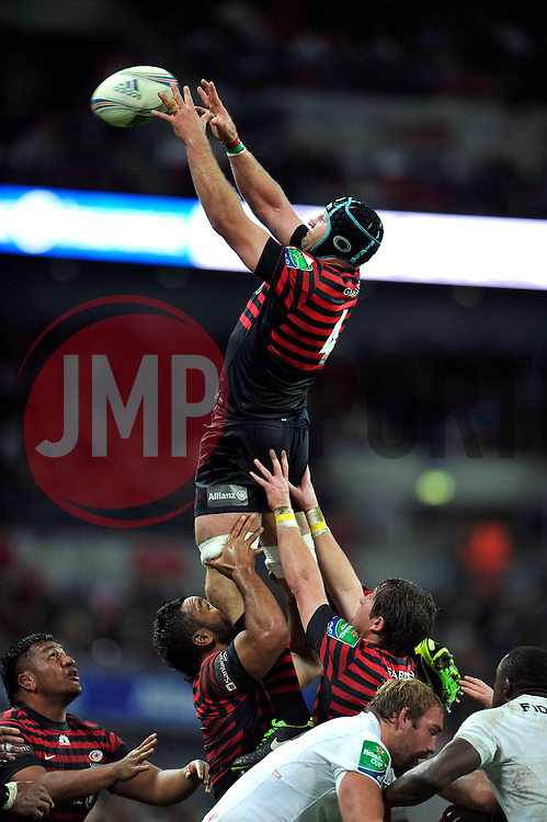 Saracens second row Steve Borthwick wins lineout ball - Photo mandatory by-line: Patrick Khachfe/JMP - Tel: 07966 386802 - 18/10/2013 - SPORT - RUGBY UNION - Wembley Stadium, London - Saracens v Toulouse - Heineken Cup Round 2.