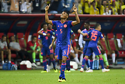 June 25, 2018 - Kazan, Russia - Wilmar Barrios of Colombia celebrates during the 2018 FIFA World Cup Group H match between Poland and Colombia at Kazan Arena in Kazan, Russia on June 24, 2018  (Credit Image: © Andrew Surma/NurPhoto via ZUMA Press)