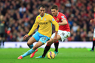 Marouane Chamakh of Crystal Palace out turns Michael Carrick of Manchester United - Manchester United vs. Crystal Palace - Barclay's Premier League - Old Trafford - Manchester - 08/11/2014 Pic Philip Oldham/Sportimage