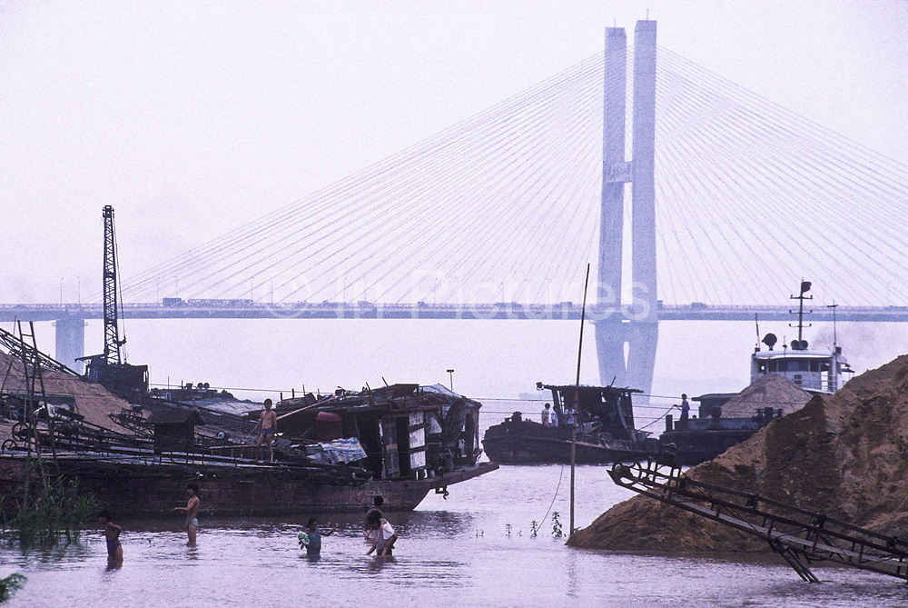 The Yangtze river floods its banks most summer months, Wuhan city, China