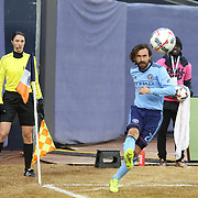 NEW YORK, NEW YORK - March 18: Andrea Pirlo #21 of New York City FC takes a corner watched by assistant referee Kathryn Nesbitt during the New York City FC Vs Montreal Impact regular season MLS game at Yankee Stadium on March 18, 2017 in New York City. (Photo by Tim Clayton/Corbis via Getty Images)