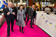 HRH Princess Anne does a tour of the show and meets quadruple Olympic gold medallist; Sir Ben Ainslie and crew alongside his  J.P. Morgan Bar AC45 Catamaran at the London Boat Show. Excel, London, UK  8 January 2014 Guy Bell, 07771 786236, guy@gbphotos.com