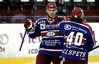 Ishockey<br /> GET-Ligaen<br /> 16.10.08<br /> Jordal Amfi<br /> Vålerenga VIF - Furuset<br /> Regan Kelly og Lars Erik Spets jubler for 1-0 scoring<br /> Foto - Kasper Wikestad