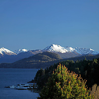 South America, Argentina, Bariloche. Nahuel Huapi and boathouse.