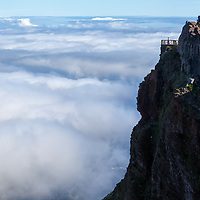 Breathtaking views over the clouds from Pico do Arieiro viewpoint.
