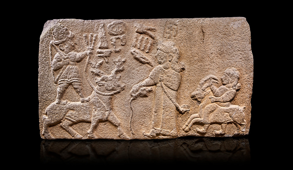 """Aslantepe Hittite relief sculpted orthostat stone panel. Limestone, Aslantepe, Malatya, 1200-700 B.C. Anatolian Civilisations Museum, Ankara, Turkey.<br /> <br /> Scene of king's offering drink and sacrifice to the god. The god is on the deer, with the bow attached to his shoulder and with a triple bundle of lightning in his hand. The king looks at the god, and makes the libation to the god while carrying a scepter with a curled end - lituus. Behind the king is a servant holding a goat for sacrifice to the god. Hieroglyphs read; """"God Parata, Strong King... """". <br /> <br /> Against a black background. <br /> <br /> If you prefer to buy from our ALAMY STOCK LIBRARY page at https://www.alamy.com/portfolio/paul-williams-funkystock/hittite-art-antiquities.html . Type - Aslantepe - in LOWER SEARCH WITHIN GALLERY box. Refine search by adding background colour, place, museum etc.<br /> <br /> Visit our HITTITE PHOTO COLLECTIONS for more photos to download or buy as wall art prints https://funkystock.photoshelter.com/gallery-collection/The-Hittites-Art-Artefacts-Antiquities-Historic-Sites-Pictures-Images-of/C0000NUBSMhSc3Oo"""