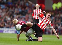 2003-05-03<br />Barclaycard Premiership<br />Aston Villa v Sunderland<br /><br />ASTON VILLA'S MARCUS ALLBACK AND SUNDERLAND'S JODY CRADDOCK<br />DURING TODAYS PREMIERSHIP GAME.<br /><br /><br />PIC BY DANIEL HAMBURY/SPORTSBEAT IMAGES
