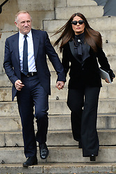 Francois Henry Pinault and Salma Hayek leaving the funeral service for late photographer Peter Lindbergh held at Saint Sulpice church in Paris, France on September 24, 2019. Photo by ABACAPRESS.COM
