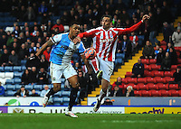 Blackburn Rovers' Joshua King is fouled by Stoke City's Geoff Cameron, resulting in a penalty and red card<br /> <br /> Photographer Kevin Barnes/CameraSport<br /> <br /> Football - The FA Cup Fifth Round - Blackburn Rovers v Stoke City - Saturday 14th February 2015 -  Ewood Park - Blackburn<br /> <br /> © CameraSport - 43 Linden Ave. Countesthorpe. Leicester. England. LE8 5PG - Tel: +44 (0) 116 277 4147 - admin@camerasport.com - www.camerasport.com