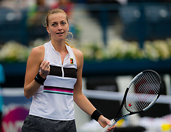 February 19, 2019 - Dubai, ARAB EMIRATES - Petra Kvitova of the Czech Republic celebrates winning her second-round match at the 2019 Dubai Duty Free Tennis Championships WTA Premier 5 tennis tournament (Credit Image: © AFP7 via ZUMA Wire)