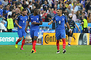 France Midfielder Blaise Matuidi and France Midfielder Dimitri Payet after France Midfielder Dimitri Payet goal during the Group A Euro 2016 match between France and Romania at the Stade de France, Saint-Denis, Paris, France on 10 June 2016. Photo by Phil Duncan.