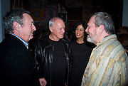 NICK MASON; DAVID GILMOUR; POLLY SAMPSON; TERRY GILLIAM, Exhibition opening ' Alan Aldridge- The Man With Kaleidoscope Eyes' hosted by his daughter Saffron Aldridge. Design Museum. Shad Thames. London  SE1. *** Local Caption *** -DO NOT ARCHIVE -Copyright Photograph by Dafydd Jones. 248 Clapham Rd. London SW9 0PZ. Tel 0207 820 0771. www.dafjones.com