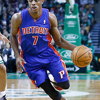 03 April 2013: Detroit Pistons point guard Brandon Knight (7) dribbles during the Boston Celtics 98-93 victory over the Detroit Pistons at the TD Garden, Boston, Massachusetts, USA.