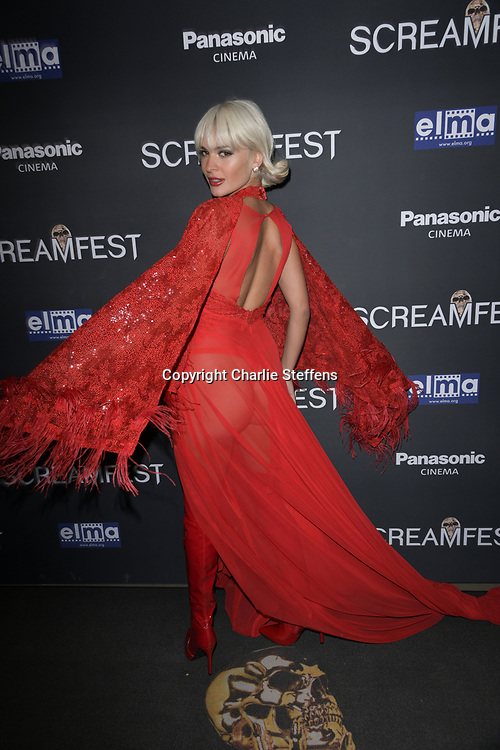 """AVA CAPRA attends the premiere screening of """"We Summon the Darkness"""" on closing night of the 19th Annual SCREAMFEST Horror Film Festival at TCL Chinese Theatre 6 in Los Angeles, California."""