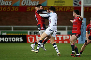 Bristol Bears Henry Purdy  Gloucester Rugbys Henry Trinder  during the Gallagher Premiership Rugby match between Gloucester Rugby and Bristol Rugby at the Kingsholm Stadium, Gloucester, United Kingdom on 12 February 2021.
