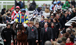 Gavin Sheehan comes back in on Forecast after the Simplify Horse Racing Selections With Betfinder At Betbright Handicap Hurdle during the New Year Meeting at Cheltenham Racecourse.
