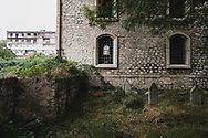 """Muslim headstones in a cemetery outside the Yukhari (""""Upper"""") Govhar Agha Mosque in Shushi, Nagorno-Karabakh. The mosque was completed in 1885. During the Soviet period, beginning in 1969, it served as the town museum.<br /> <br /> (September 23, 2016)"""