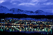 The city of Ushuaia (Pop: approx. 40.000) capital of Argentina's southernmost province, Tierra del Fuego.