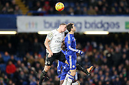 Phil Jagielka, the Everton captain and Oscar of Chelsea attempting to head the ball. Barclays Premier league match, Chelsea v Everton at Stamford Bridge in London on Saturday 16th January 2016.<br /> pic by John Patrick Fletcher, Andrew Orchard sports photography.