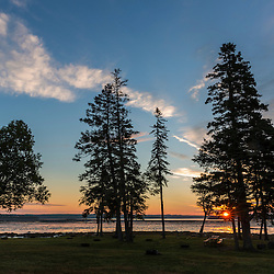 Sunrise on Thompson Island in Maine's Acadia National Park.