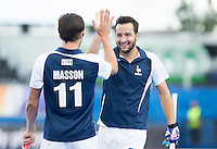 LONDON -  Unibet Eurohockey Championships 2015 in  London.  Russia v France. Charles Masson (l) scored 1-2 and celebrates with Olivier Sanchez.  WSP Copyright  KOEN SUYK