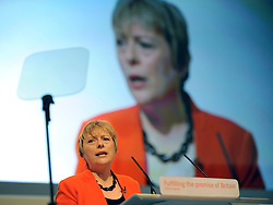 © Licensed to London News Pictures. 27/09/2011. LONDON, UK. Angela Eagle, Shadow Chief Secretary to the Treasury delivers her speech at The Labour Party Conference in Liverpool today (27/09/11). Photo credit:  Stephen Simpson/LNP