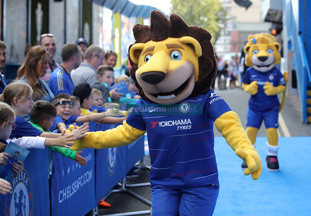 Chelsea mascots Stamford the Lion and Bridget the Lioness greet young fans before the Premier League match at Stamford Bridge, London.